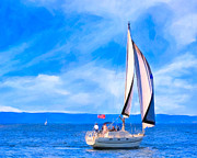 Sailboat Ocean Digital Art Prints - Blissful Afternoon Sailing On Monterey Bay Print by Mark E Tisdale