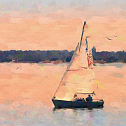 Sailing Digital Digital Art Framed Prints - Blissful Framed Print by Betty LaRue