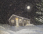 Snowy Night Painting Metal Prints - Blizzard at the Cabin Metal Print by Barbara Griffin