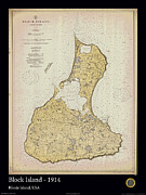Nautical Chart Photos - Block Island - 1914 by Adelaide Images