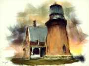 New England Ocean Digital Art Posters - Block Island Light Poster by Lourry Legarde