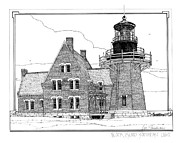 Featured Drawings Posters - Block Island Southeast Light Poster by Ira Shander