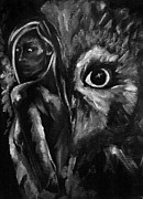 Black And White Owl Paintings - Blodeuwedd by Jeffcoat Art