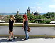 Chat Posters - Blonde and Red Hair Girls Admiring Sibiu Roofs Poster by Ion vincent DAnu