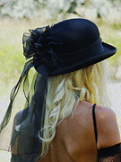 Blonde Framed Prints - Blonde in Black Hat Framed Print by Kae Cheatham