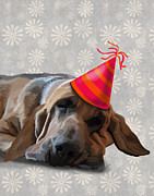 Wall Decor Greeting Cards Prints - Blood Hound After the Party Print by Kelly McLaughlan