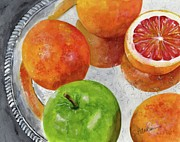 Silver Tray Framed Prints - Blood Oranges on Silver Tray  Framed Print by Sheryl Heatherly Hawkins