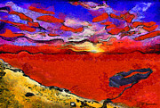 Clouds Sunset Painting Prints - Blood river Print by George Rossidis