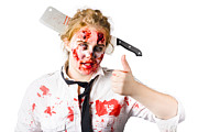 Bloody Woman With Cleaver In Head Print by Ryan Jorgensen