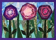 Art Quilt Tapestries - Textiles Prints - Blooming Crazy Print by Jean Baardsen