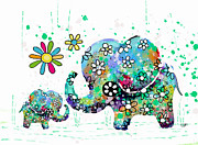 Blooming Digital Art Prints - Blooming Elephants Print by Karin Taylor