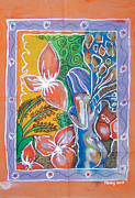 Garden Tapestries - Textiles Originals - Blooming Garden by Mandy Simpson
