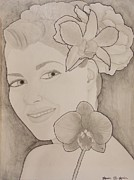 Swimmer Drawings - Blooming Girl Orchid and Gardenia  Refined by Aaron El-Amin