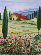 Blooming Paintings - Blooming Poppy in Tuscany by Christine Huwer