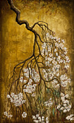 Sakura Paintings - Blooming sakura by Vrindavan Das