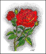 Pointillism Drawings - Blooming Too by Glenn McCarthy Art and Photography