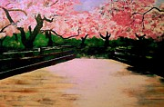 Kevin J Cooper Artwork Paintings - Blossom Bridge by Kevin J Cooper Artwork