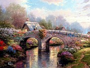 Kinkade Prints - Blossom Bridge-thomas Kinkade Print by Thomas kinkade Collector
