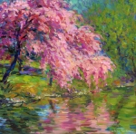 Impressionist Drawings Posters - Blossoming trees landscape  Poster by Svetlana Novikova