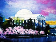 Cherry Blossoms Painting Prints - Blossoms at the Jefferson Memorial Print by Al Brown