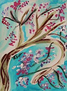 Tree Blossoms Drawings - Blossoms in a Breeze by Mary Carol Williams