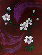 Cherry Blossoms Painting Metal Prints - Blossoms Metal Print by Nyxie Clark