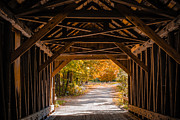 New Hampshire Fall Foliage Framed Prints - Blow-Me-Down Covered Bridge Cornish New Hampshire Framed Print by Edward Fielding