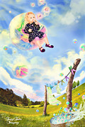 Youthful Digital Art Metal Prints - Blowing Bubbles Metal Print by Fairy Tales Imagery Inc