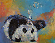 Giant Panda Posters - Blowing Bubbles Poster by Michael Creese