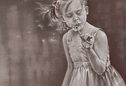 Little Girl Drawings Prints - Blowing in the Wind Print by Natasha Denger