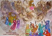Anne Cameron Cutri Metal Prints - Blowing the Shofar at Jericho with words Metal Print by Anne Cameron Cutri