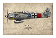 Fighters Digital Art - Blue 13 Focke-Wulf FW 190 - Map Background by Craig Tinder