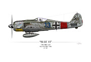 Fighters Digital Art - Blue 13 Focke-Wulf FW 190 - White Background by Craig Tinder