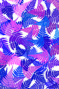 Assorted Digital Art Posters - Blue Abstract Fern Leaf Pattern Art Poster by Christina Rollo