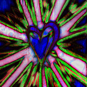 Abstract Hearts Digital Art - Blue Abstract Hearts by David G Paul