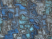Jennifer Vazquez Framed Prints - Blue Abstract mixed media textured painting Framed Print by Jennifer Vazquez