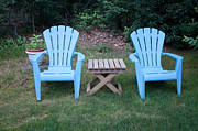 Lawn Chair Posters - Blue Adirondack Chairs Poster by Thomas Marchessault