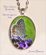 Blue Flowers Jewelry - Blue Adonis Butterfly-Custom Pendant by Jennie Breeze