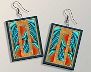 Colorful Abstract Jewelry - Blue Agate and Stone Paper Earrings by Melissa A Benson