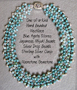 Sterling Silver Art - Blue Agate Stone Necklace by Jennie Breeze
