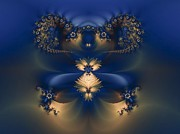 Blue And Gold Flowers Fractal Print by Carol Sawyer