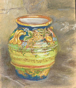 Italian Pottery Prints - Blue and Gold Italian Pot Print by Harriett Masterson