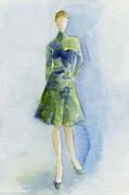 High Fashion Prints - Blue and Green Dress - Watercolor Fashion Illustration Print by Beverly Brown Prints