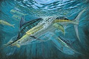 Dolphin Art Paintings - Blue And Mahi Mahi Underwater by Terry Fox