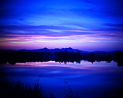 Lake Posters - Blue and Pink Mountain Lake Sunset Poster by JaqStone