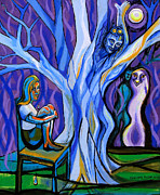 Tree Lines Painting Posters - Blue and Purple Girl With Tree and Owl Poster by Genevieve Esson