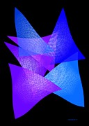 Abstract Art Art - Blue and Purple Triangles by Mario  Perez