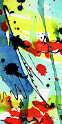 Ink Paintings - Blue  and Red Intuitive Abstract Series #1 by Ginette Callaway