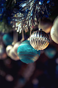 Sparkly Framed Prints - Blue and silver baubles. Framed Print by Jane Rix