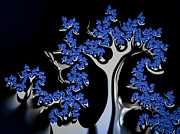 Recursive Framed Prints - Blue and silver fractal tree abstract artwork Framed Print by Matthias Hauser